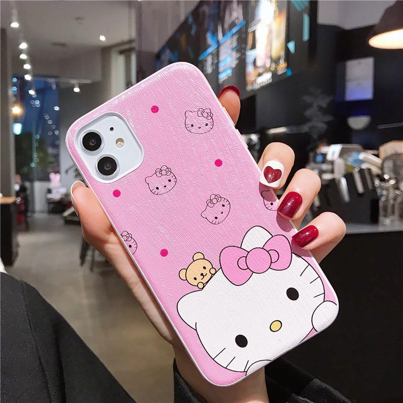 One Piece Luxury Bark pattern phone case For iPhone 7 8Plus XS XR 11PROMAX lovely pink kitten Designer phone case back cover