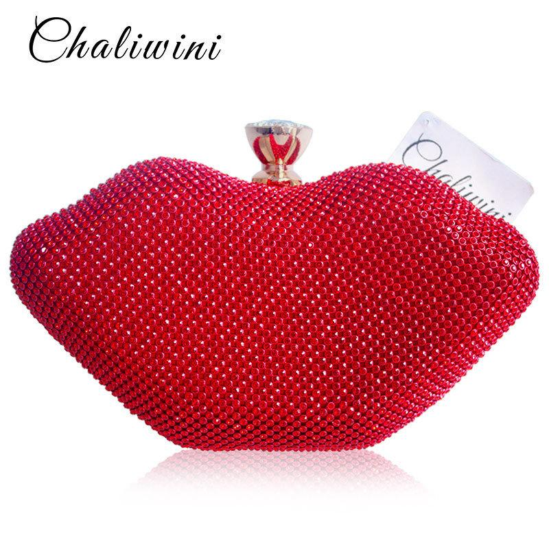Sexy Female Red Lips Crystal Purses And Handbags Ladies Metal Day Toiletry Punk Party Wallet Women Shoulder Evening Clutch Bag Y19051702