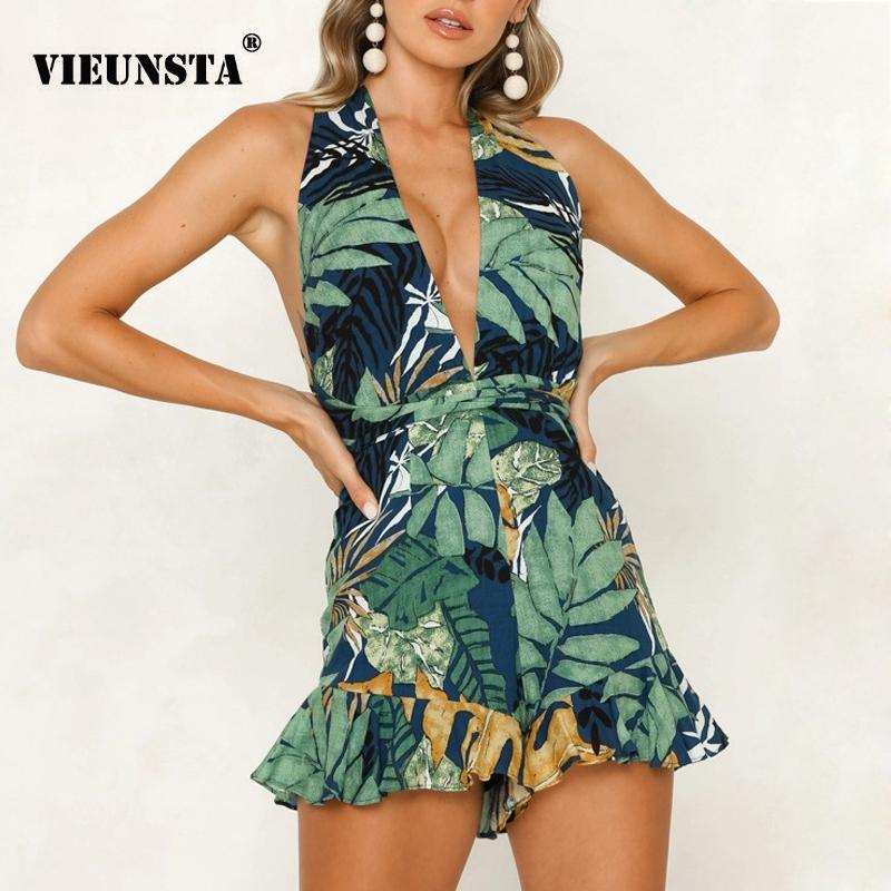 b242fdf1c71 2019 VIEUNSTA Green Sexy Romper Women Jumpsuit 2019 Lady Chest V Neck  Hollow Out Summer Playsuit Floral Print Backless Beach Overalls From  Decbeer