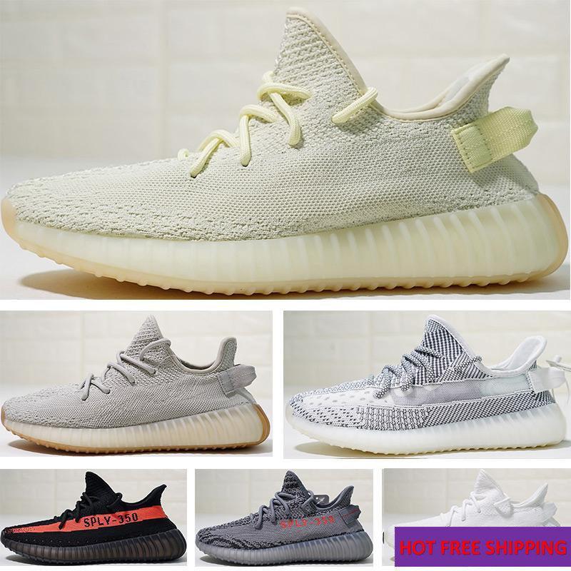 best authentic be97c eb617 2019 NEW yeezy 350 V2 Static Butter Sesame Cream Dark grey Zebra Bred white  Beluga 2.0 Kanye West Running Shoes Sport Sneakers