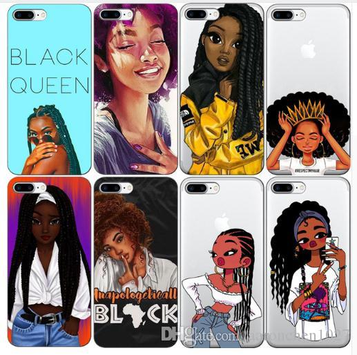 hot sale online e296f 9a379 Best 2bunz Melanin Poppin Aba Soft Clear Phone Case for iPhone X 6 7 8 plus  6s XR XS Max Fashion Black Girl Cover for Samsung S10e S9 Plus