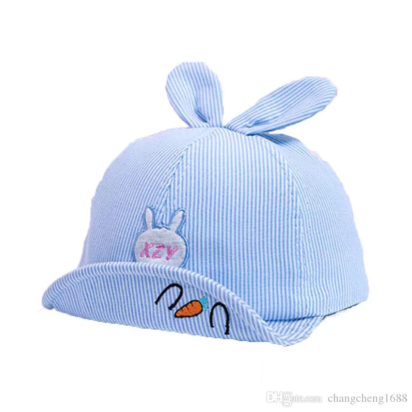 02eecc37554 2019 Baby Baseball Cap Kids In 2019 Spring New Girl Boys Cute Cartoon  Rabbit Ear Cap Stripe Adjustable Soft Brim Hat Caps Chapeu MZ7178 From  Changcheng1688