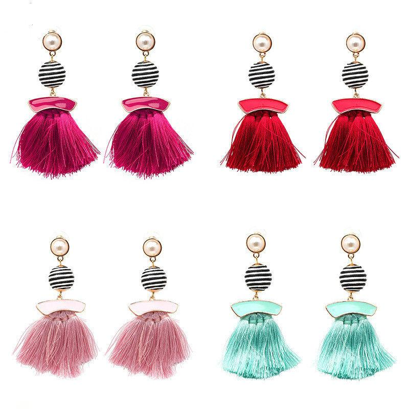 2018 Women Weave Tassel Earwear Fashion Design Trendy Handmade Cotton Tassel Accessories For Women Long Fringe Drop Dangle