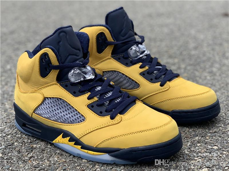 2019 Authentic Air SP 5 Michigan 5s Gelb CQ9541-704 Inspire V Herren Basketball Schuhe Sneakers Mit Original Box Authentic 857jordan