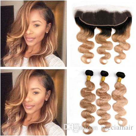 Honey Blonde Ombre Peruvian Virgin Hair Bundles 3Pcs with Frontal Closure Body Wave 1B/27 Light Brown Ombre Weaves with 13x4 Lace Frontal
