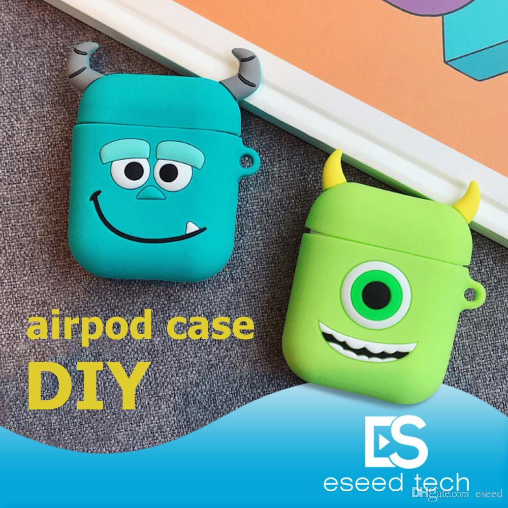 sale retailer 2739d 7bb43 Cute DIY Silicone Case For Apple Airpods Accessories Special 3D Animal Soft  Case Cover with Anti-lost Strap Decoration Gifts Toy