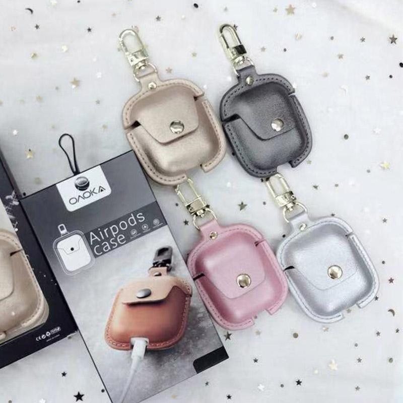 8cc8ba2a 2019 Wholesale For Apple AirPods Luxury Chic PU Leather Case Hook Clasp  Keychain Shockproof Protective AirPod Cover Accessories Full Protection  From ...