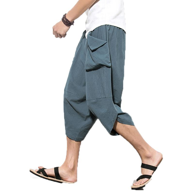 80b12517e50 2019 Hot Sale 2018 Summer Linen Hip Hop Harem Pants Men Casual Loose  Trousers Drawstring Cross Bloomers Pants Joggers Size M 5XL D18122901 From  Tai002