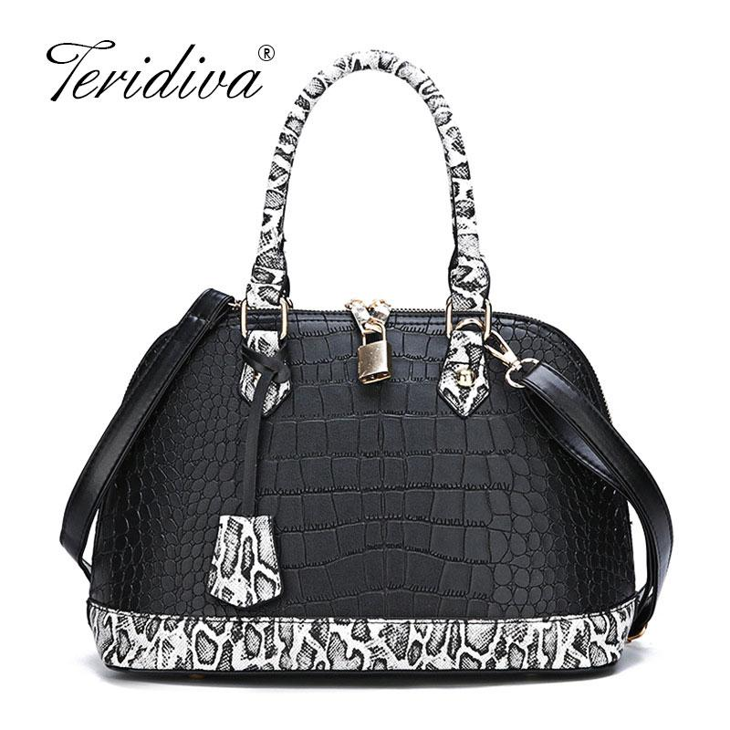 f56da07aa167 Crocodile Pattern Women Leather Handbag Classic Top Handle Bag Ladies  Messenger Shoulder Bags Shell Patchwork Serpentine Purse