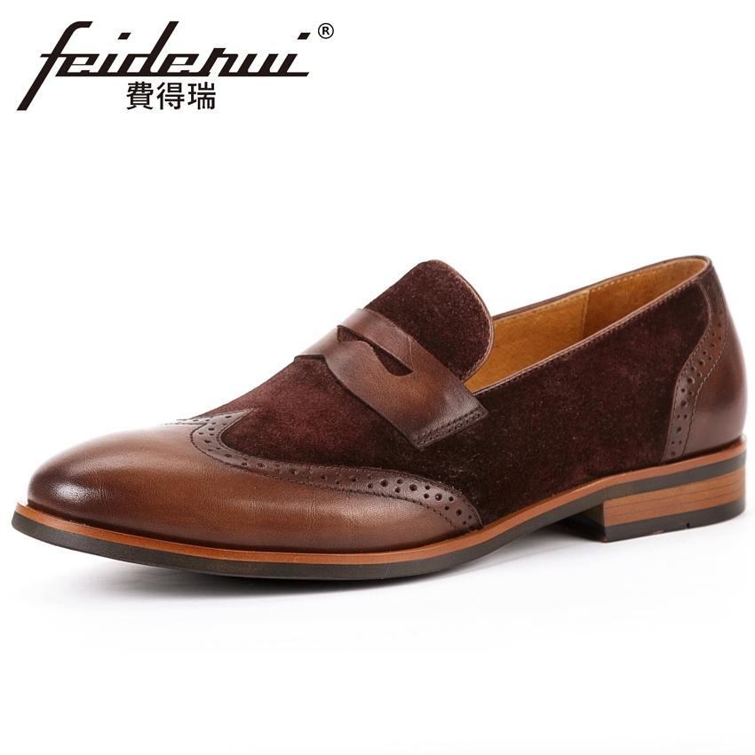 327361d114b89 New Vintage Men's Wingtip Brogue Loafers Round Toe Slip on Handcrafted Man  Flats Cow Suede Leather Formal Dress Shoes KUD213