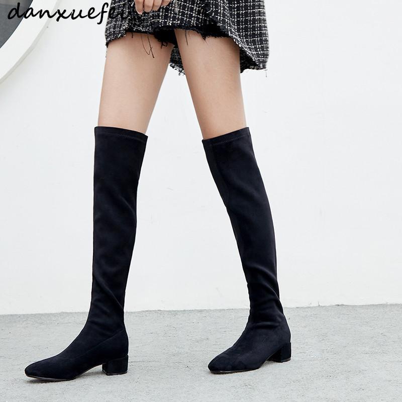 sulle immagini di piedi di prezzo favorevole comprare Stivali in pelle scamosciata genuini da donna neri stivali sopra il  ginocchio con tacco medio stivali lunghi invernali comodi scarpe da donna  sexy ...