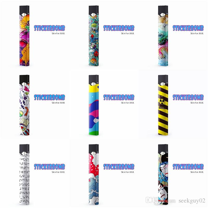 JUUL Starter Kit Colorful Skin Wraps Sticker Cases Cover Sleeve For Juul  Kit Vape Mod Protective Film Stickers DHL Free