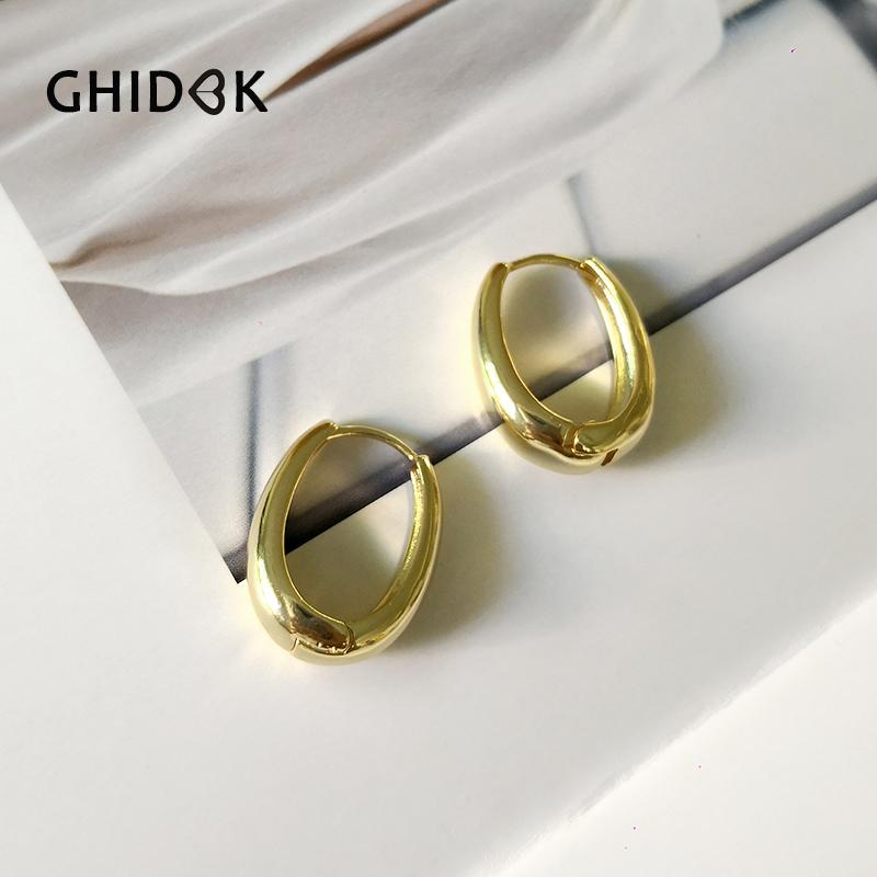 GHIDBK Thick Gold Silver Oval Geometric Hoop Earrings Medium Statement Solid Earrings Minimalist Chunky Earring for Women