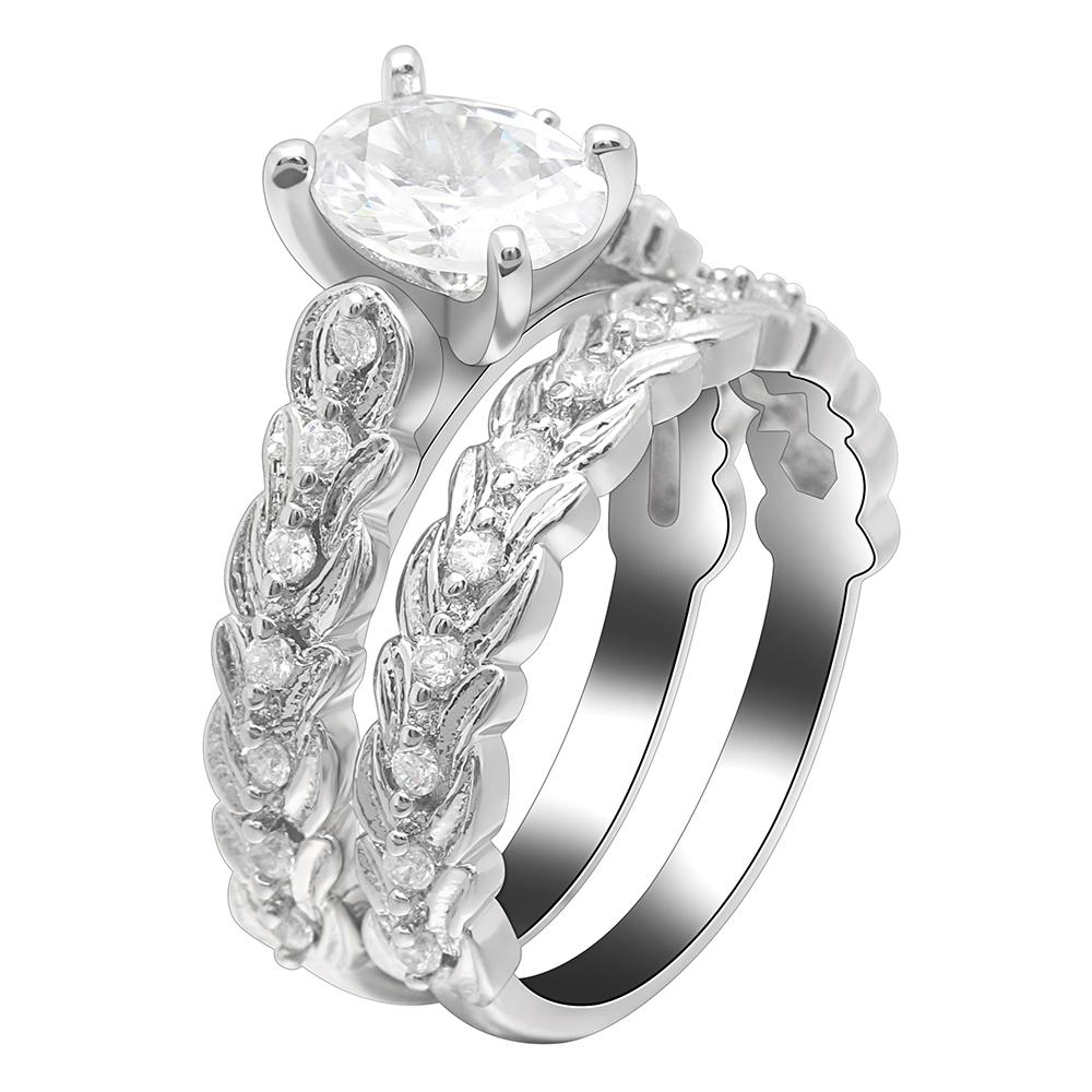 2018 Seanlov Female White Round Ring Sets Luxury Silver Color Ring