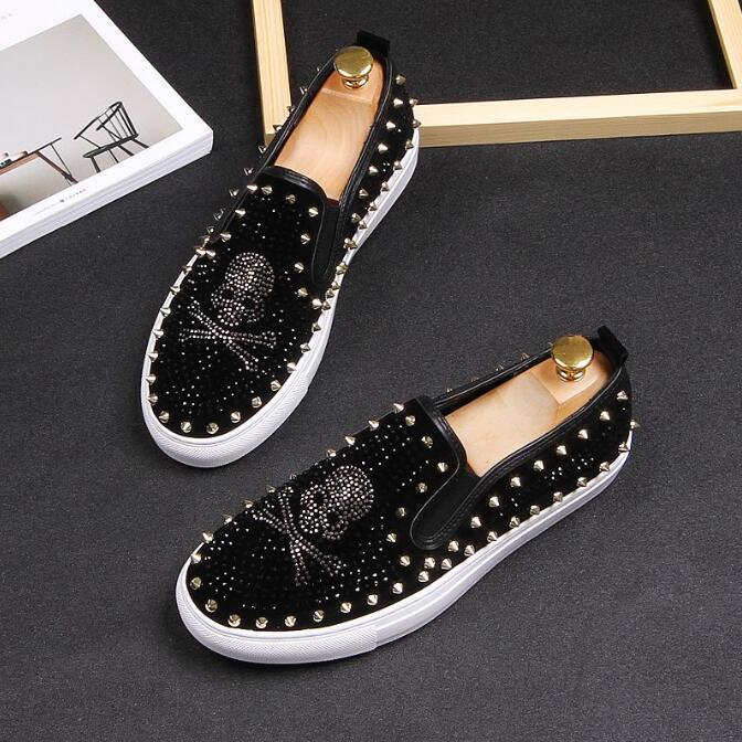 2019 hommes chaussures coiffure simple d'homme Chaussures Casual styliste rivet squelette humain chaussures concepteur mens hommes luxe mocassins 792