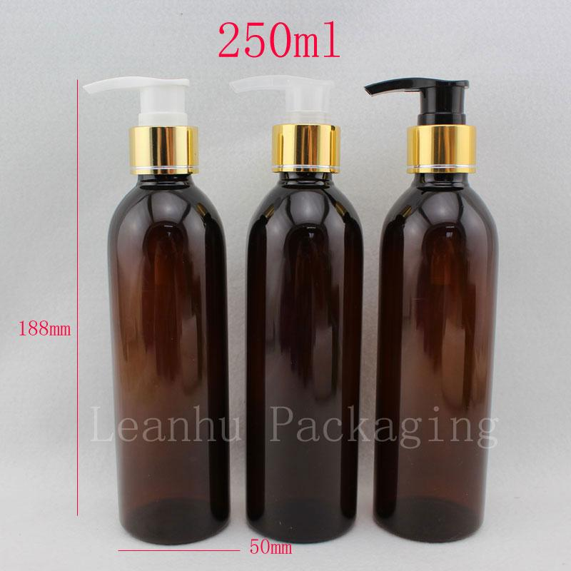 c271b88618e9 250ml X 20 empty brown plastic lotion bottles liquid soap pump container  for personal care lotion, pump cosmetic containers