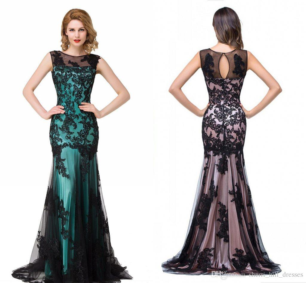 f7cebf1041053 Black Lace Evening Gowns Mermaid Sheer Neck Tulle Gothic Prom Party Dresses  Vestidos De Novia Tallas Grandes Bruidsjurken DH4208 Evening Dress Size 18  ...