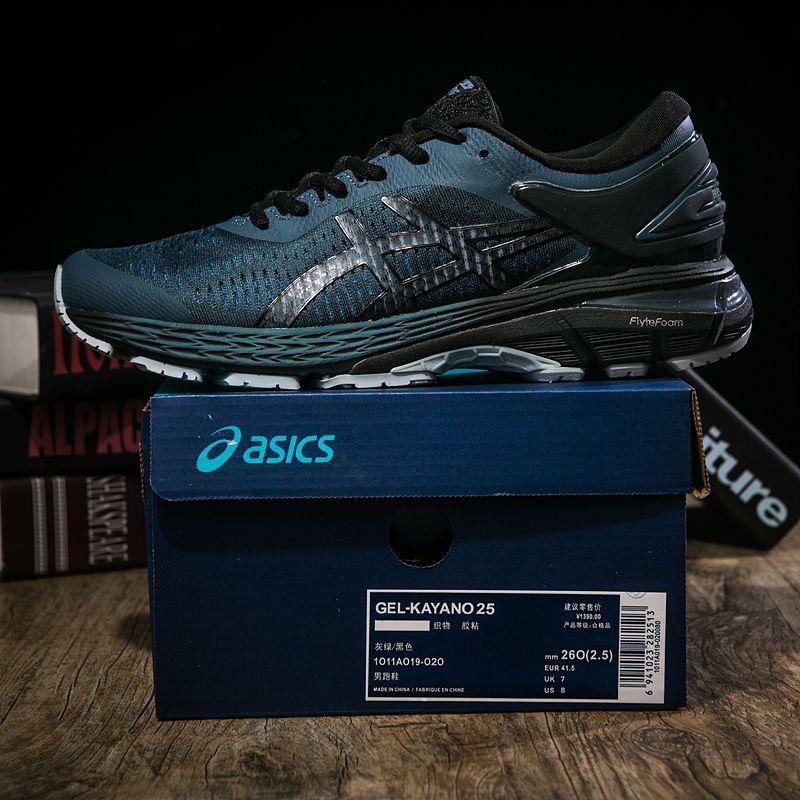 3906a06aa Asics GEL KAYANO 25 Balck Verde Oscuro 1011A019 021 Hombres Amortiguados  Zapatos Para Correr Zapatillas De Deporte Deportivas Asics Designer De Asics  EE.