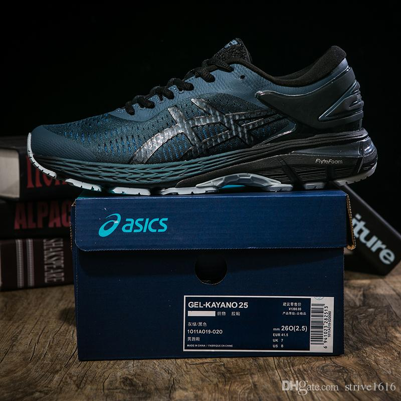 6e4cd252f61 Compre Asics GEL KAYANO 25 Escuro Verde Balck 1011A019 021 Homens  Almofadado Tênis Asics Designer De Esportes Jogging Sneakers EUA 7.5 11 De  Strive1616