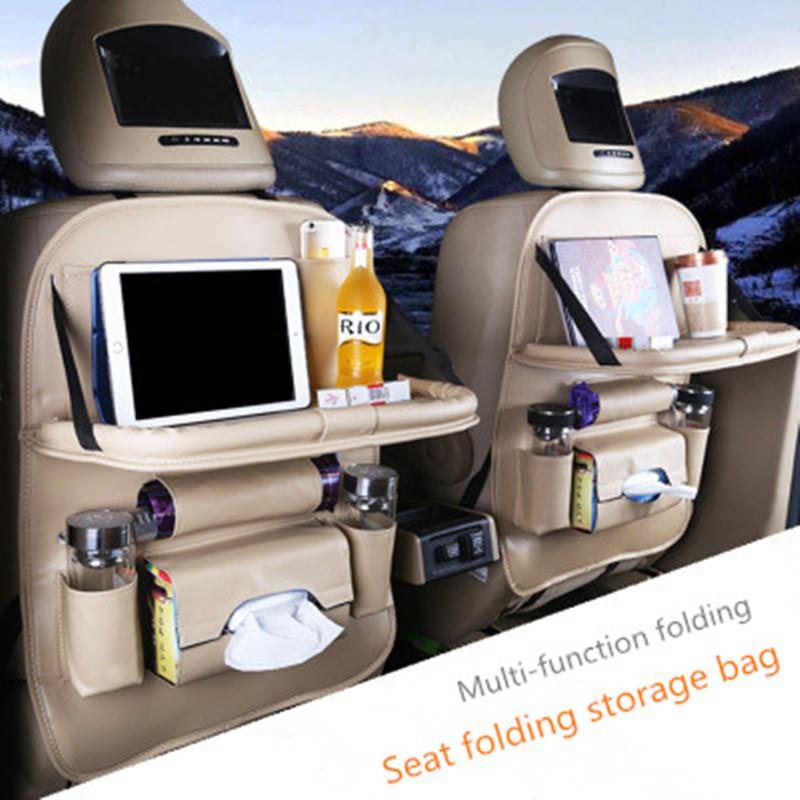 Car storage bag folding table type stowing tidying table multi-function car seat organizer