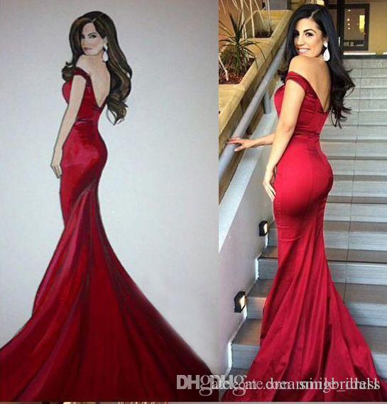 b30b877af350 Red Long Prom Dresses Off The Shoulder Elegant Mermaid Zipper Up Sweep Train  Evening Dresses Long Open Back Formal Gowns SE176 Black Formal Gowns Blue  ...