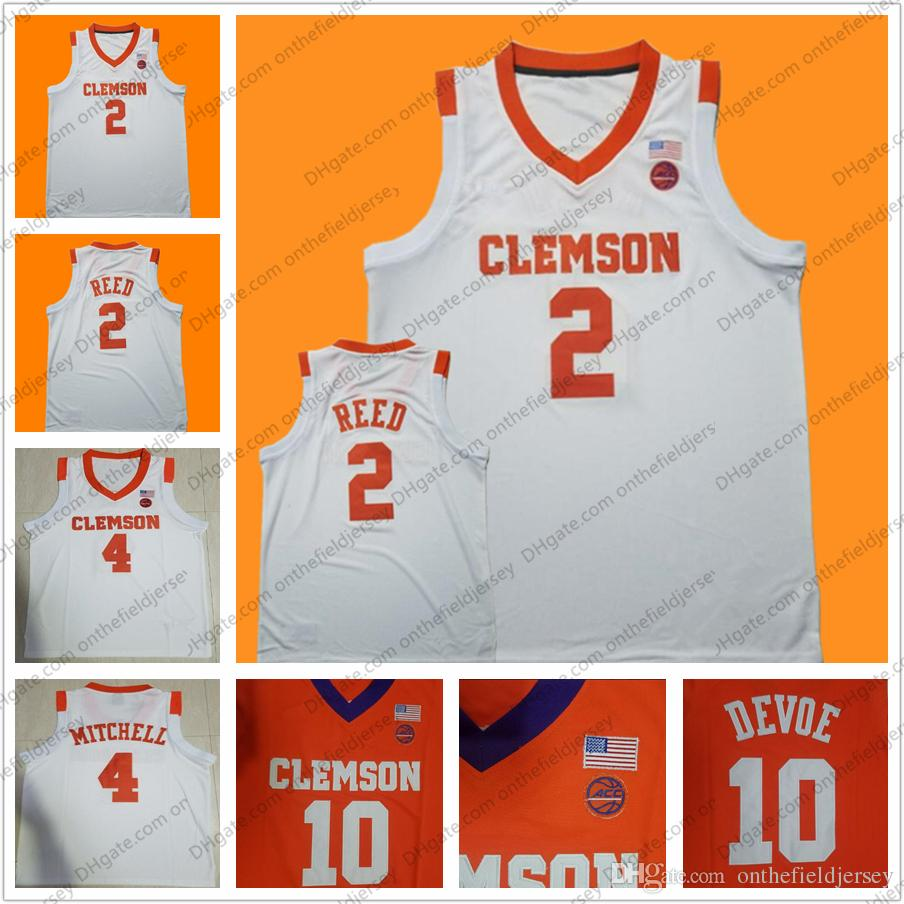 more photos 399a7 8d00a Custom Clemson Tigers College Basketball Jersey Any Name Number #2  Marcquise Reed 4 Shelton Mitchell 14 Elijah Thomas 25 Aamir Simms S-4XL