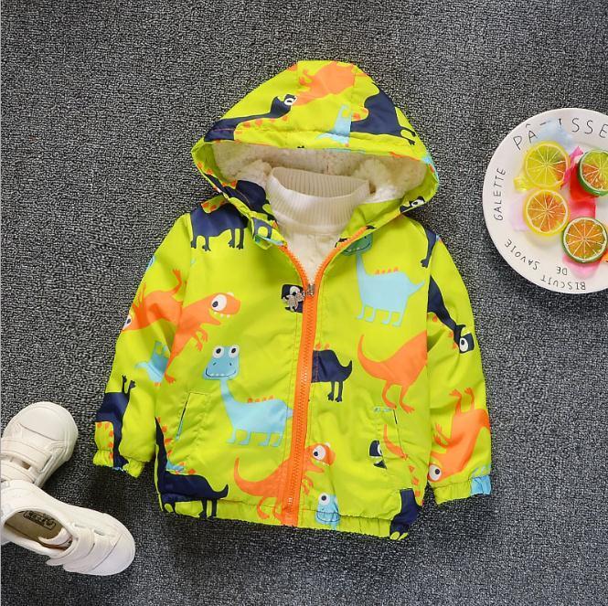 a8fa9145641f Kids Winter Jacket Baby Hooded Dinosaur Printed Children Warm Jacket ...
