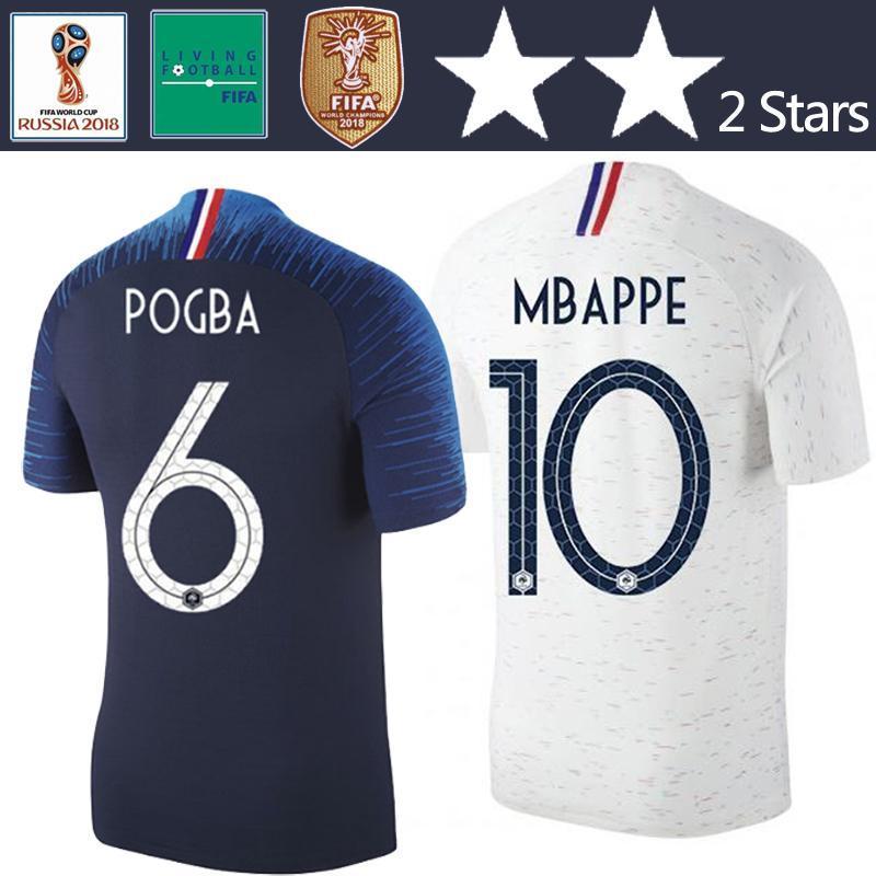 2 Stars Thailand Pogba Mbappe Soccer Jersey World Cup 2018 Home Away Griezmann Football Shirt Giroud Champion Du Monde Maillot De Foot