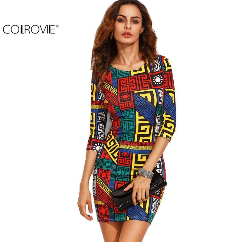 e6ca7a8a5d13 2019 Colrovie Long Sleeve Bodycon Dress Autumn Women Dress ...