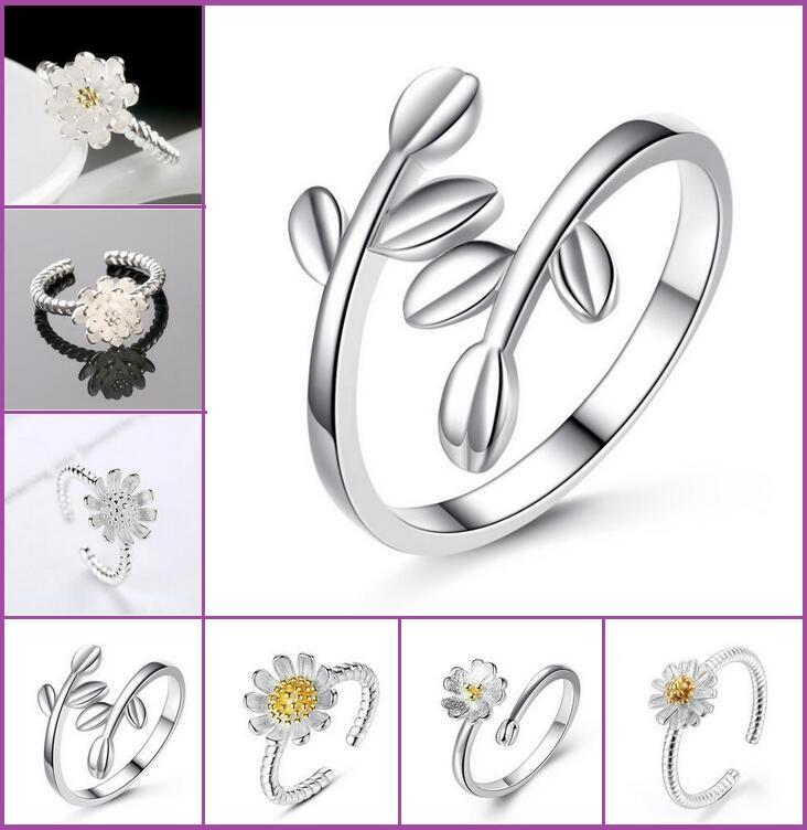 .hot vendere 925 Sterling Silver lascia Ring The Olive Branch / Crisantemi / Sakura / Girasoli donne anello regolabile anello di apertura