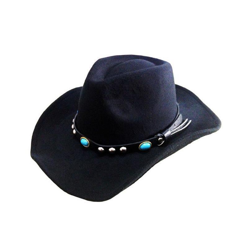 e0672cc21d Vintage Unisex Spring Winter Wool Blend Western Cowboy Cap Fedora Hat Soft  Brim Sombrero Godfather Cap Cowgirl Jazz Hat