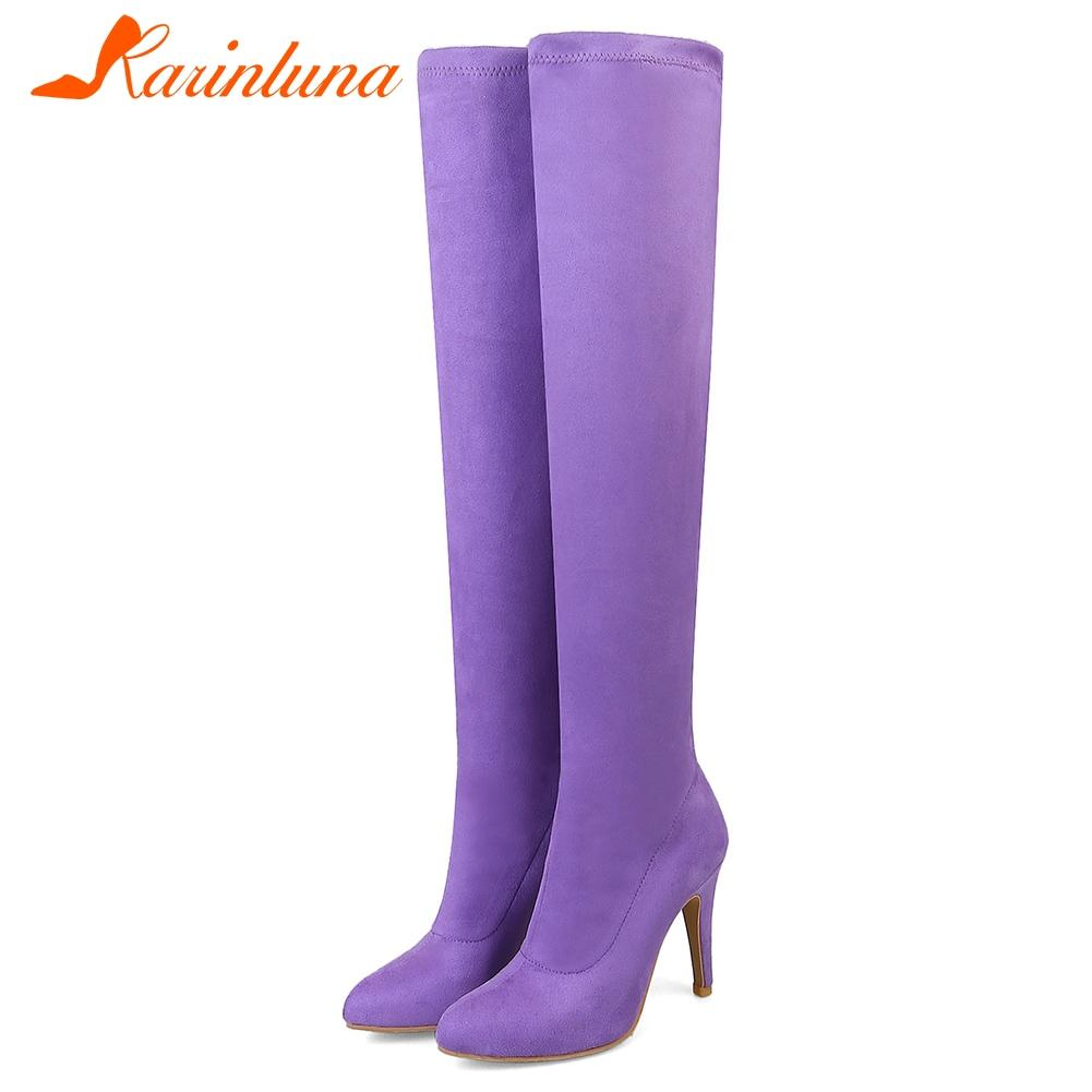 KARIN 32-45 Sweet Candy Colors Over The Knee Boots Ladies Sexy Stretch Thigh High Boots Women 2019 High Heels Shoes Woman