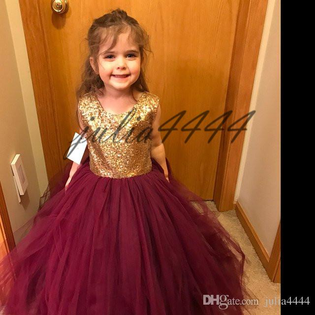 2019 Sequin Top Flower Girl Dresses Pageant Dresses per Little Girls 2019 Jewel Neck Maniche corte Ball Gown