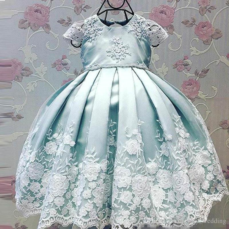 2019 Lovely Flower Girls' Dresses Cap Sleeve with Lace Embroidery mint blue Satin Kids Pageant toddler infant Party wedding dress Wear