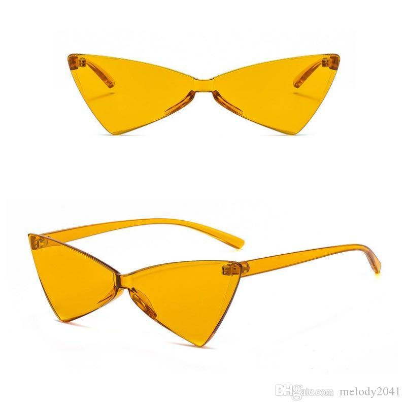 b3e9580d5c 2019 Cat Eye Sunglasses NO Frame Small Triangle Sun Eyeglasses UV400 Plastic  Rimless Candy Frame PC Frame Metal Hinge Cheap Designer Sunglasses  Sunglasses ...