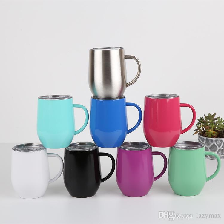 12oz Stainless Steel Mug 8 Colors Egg Shaped Vacuum Cup Milk Coffee Wine Tumbler Home Office Drinking Supplies 2 Pieces ePacket