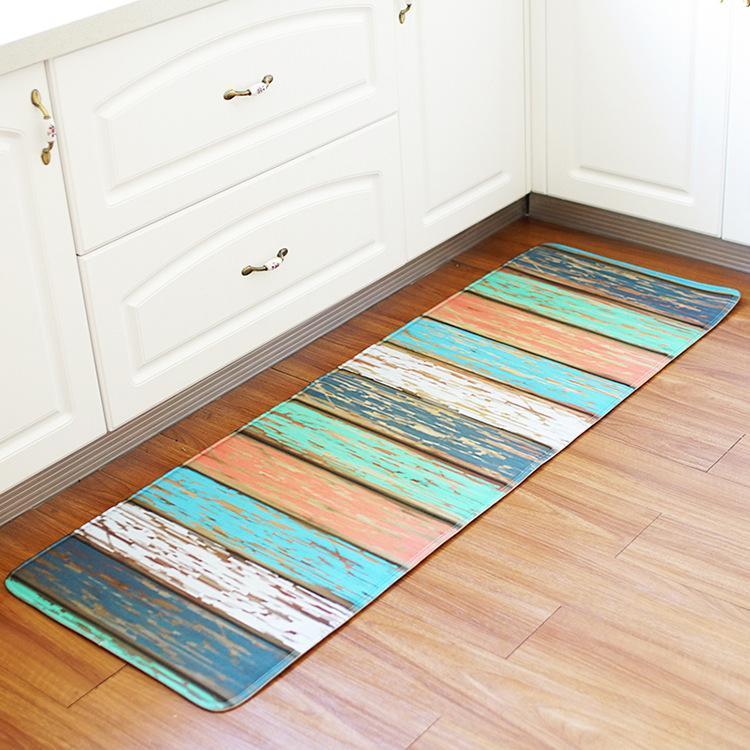 Wood Printed Hallway Rugs Anti Slip Memory Foam Kitchen Floor Mat