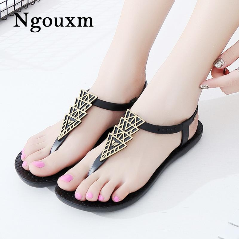 4d8618c6f053bc Ngouxm Hot Fashion Woman T Strap Clip Toe Sandals 2018 Rome Solid Beach  Casual Lady Flip Flop PU Flat Sandals Female Ladies Sandals Girls Sandals  From ...