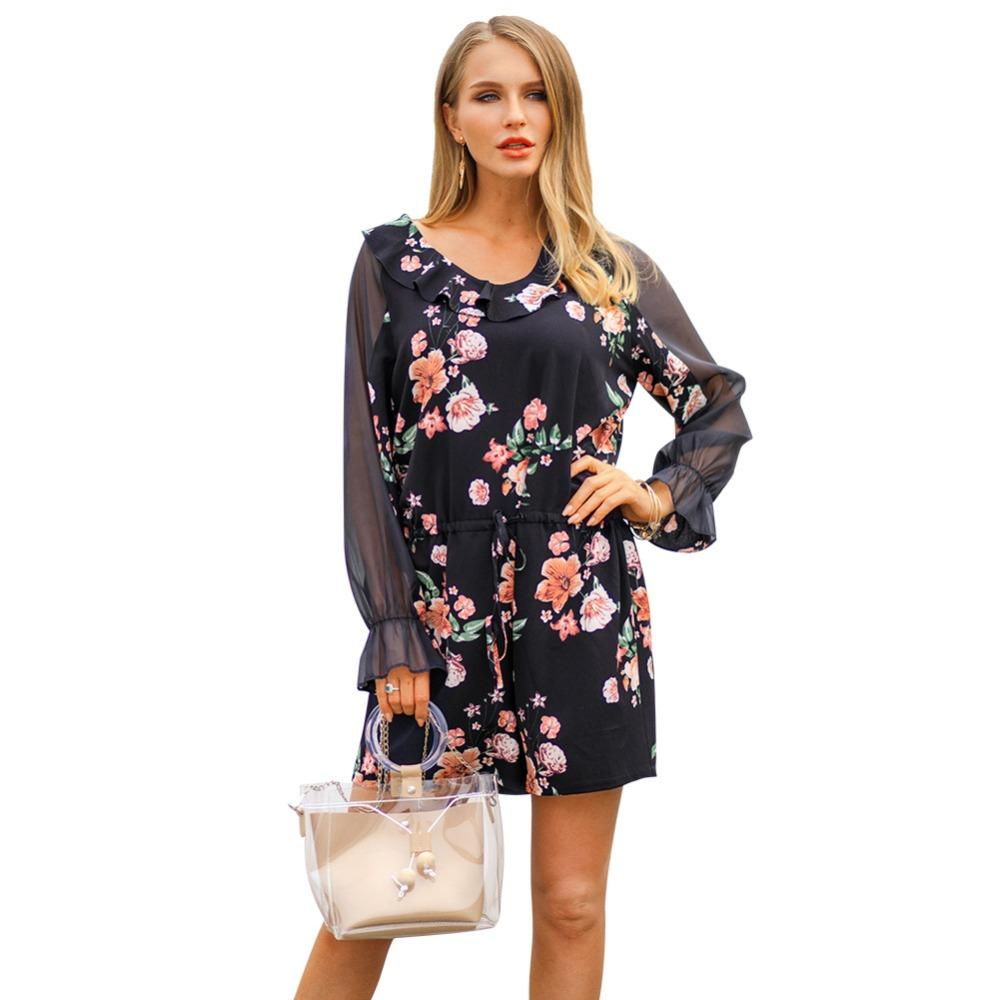 66c33e45f1f 2019 Women Printed Chiffon Jumpsuits Long Sleeve Playsuits Mesh Patchwork Floral  Print Women Playsuit Romper Jumpsuits Ladies From Vikey08