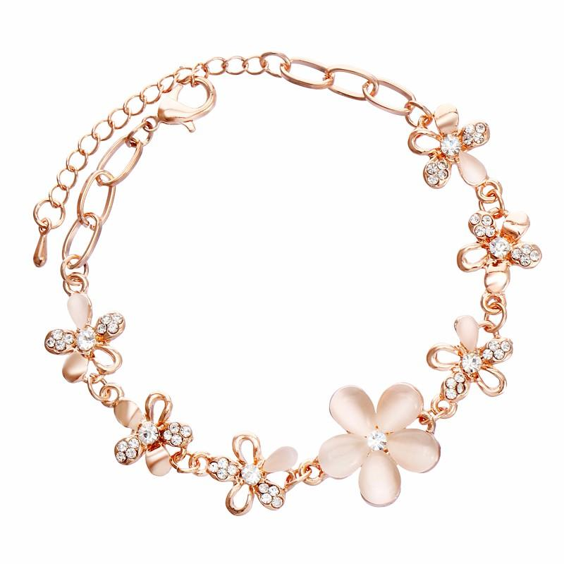 MINHIN En Gros Rose Or Couleur Chaîne Bracelet Strass Fleurs Conception Femmes Belle Bijoux De Mariage Charme Bracelet Cadeau