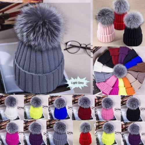 69e56c2191aa0 Large Ball Womens Hat Winter Fox 15cm Fur Pom Pom Knit Beanie Ski Cap  Bobble Beanies For Women Beanie Cap From Clintcapela
