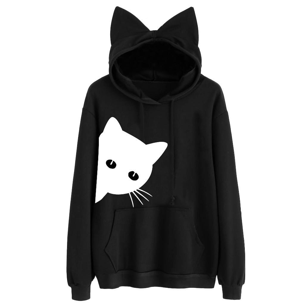 Motif À De Femme Acheter Sweatshirt Capuche Sweats Kawaii Chat Noir RcPP8ZUW