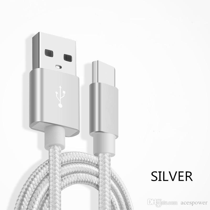 Tip C Naylon Örgülü Mikro USB Kablosu Şarj Sync Veri Dayanıklı Sync Hızlı Şarj Cihazı Kablosu Android V8 Akıllı Telefon için