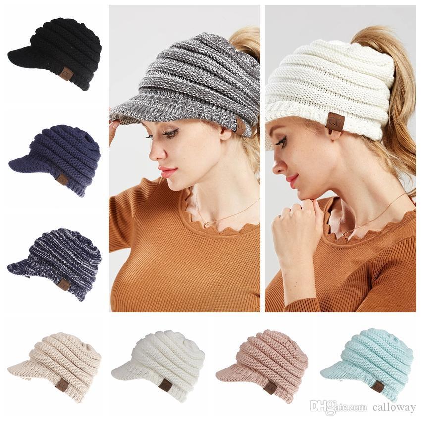 Women S CC Knitted Baseball Cap Open Ponytail Visor Cap Ski Cap Beanie Hat  Winter For Women Winter Ponytail Beanie Hats Baseball Cap Flat Cap From  Calloway 209cf276f58