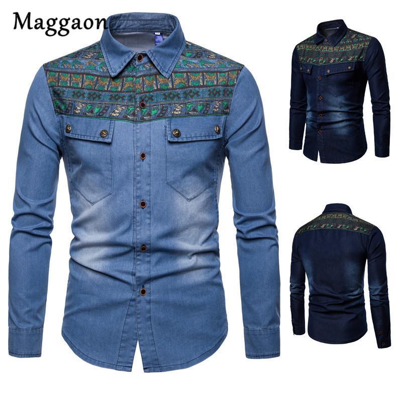 c7dda57c0 2019 Marca Nueva Llegada Camisa de Mezclilla de Los Hombres de Manga Larga  Casual Slim Fit Camisas Jeans de los hombres Camisas para Hombre Ropa de ...
