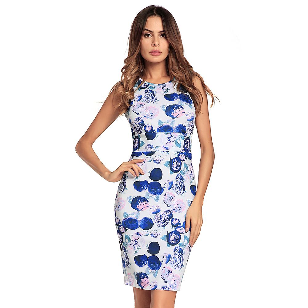 643eecb7c3f 2019 Fashion Women Floral Print Dress Slim Fit Sleeveless Bodycon Dress O  Neck Back Slit Party Club Package Hip Mini Dress Ropa