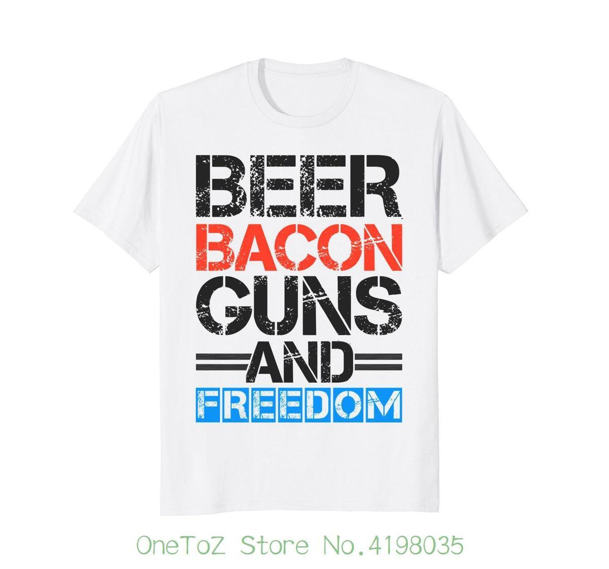 458f919246 Beer Bacon Guns And Freedom Shirt 4th Of July Men Short Sleeve Tshirt  Cotton T Shirt Making T Shirts For Sale From Jie11, $14.67| DHgate.Com