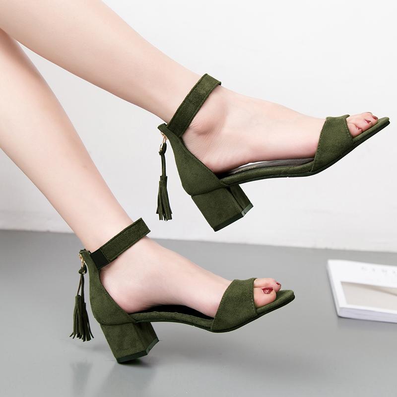 62f6228630 Compre Mulher Sapatos 2019 Borla Verão Rebanho Mulheres Sandálias Franja  Sandália Saltos Grossos Sandálias De Salto Alto Sandalias De Salto Alto  M455 De ...