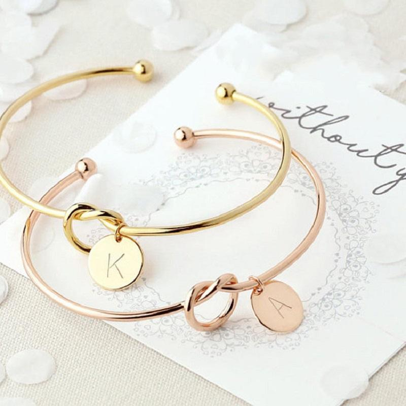 2b7d7945753 26 Letter Initial Open Bracelets Bangle Knot Charm Bracelet Rose Gold Silver  For Women Female Personality Statement Jewelry Gifts DHL Silver Earrings  From ...