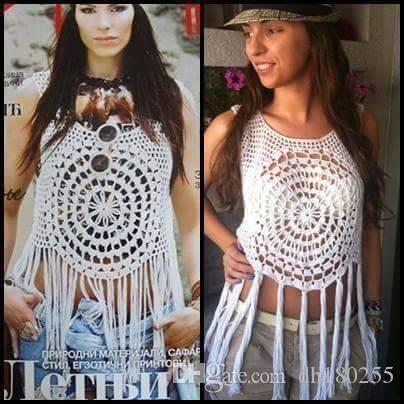 2019 Crochet Fringe Top Organic Tassel White Crochet Crop Top Hippie